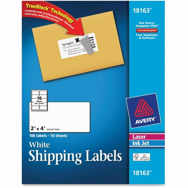 "Avery Labels Template 18163 Fresh Avery Shipping Label 2"" Width X 4"" Length 100"