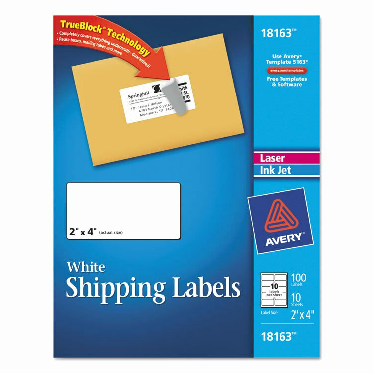 "Avery Labels Template 18163 Inspirational ""avery Shipping Labels W Trueblock Technology 2 X 4"