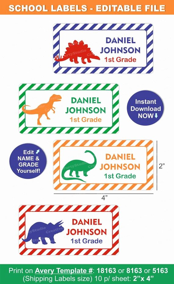 Avery Labels Template 18163 Lovely Dinosaur School Labels Dinosaur Labels School Name