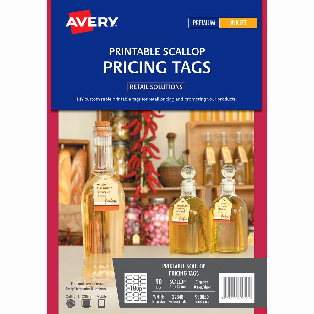 Avery Luggage Tag Template Fresh Avery Printable Scallop Pricing Tags 50 X 32mm 90 Pack