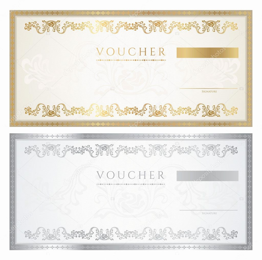 Award Check Template Best Of Voucher Template with Floral Pattern Watermark Border