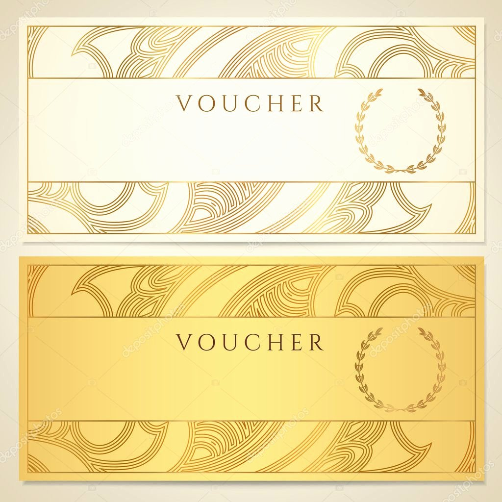 Award Check Template Elegant Voucher Gift Certificate Coupon Template Floral Scroll