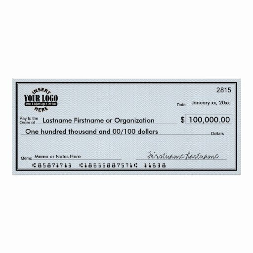 Award Check Template Unique Blank Check for Sweepstakes & Awards Poster