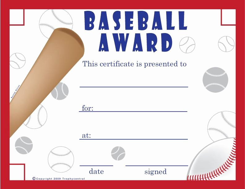 Award Check Template Unique Free Printable Baseball Certificates