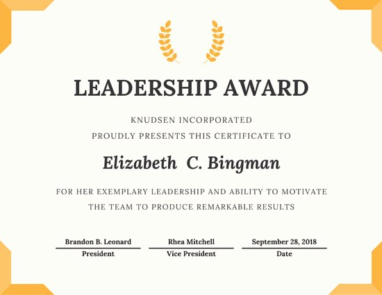 Award Check Template Unique Trophy Leadership Award Certificate Templates by Canva