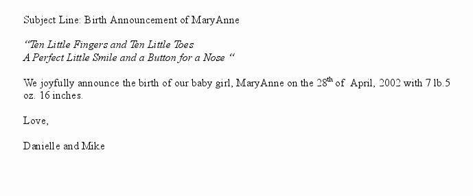 Baby Announcement Email Luxury Announcement Email is A Sample Message Sent at the Birth