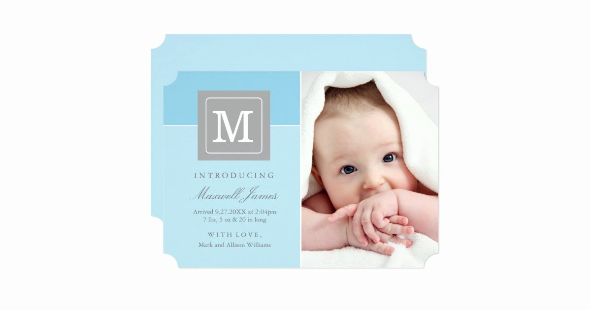 Baby Announcement Email Unique Birth Announcements Letter Block Baby Boy