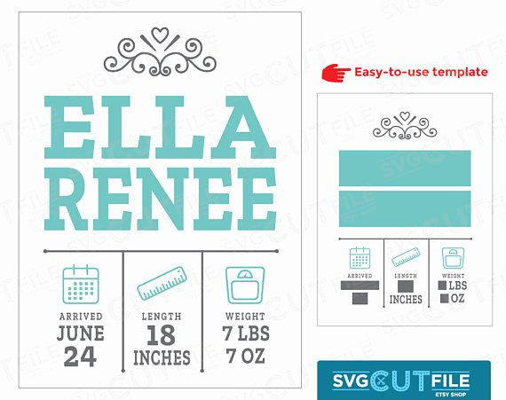 Baby Birth Stats Template Free Awesome Birth Svg Announcement Svg Boy Girl Baby Svg Birth Stats
