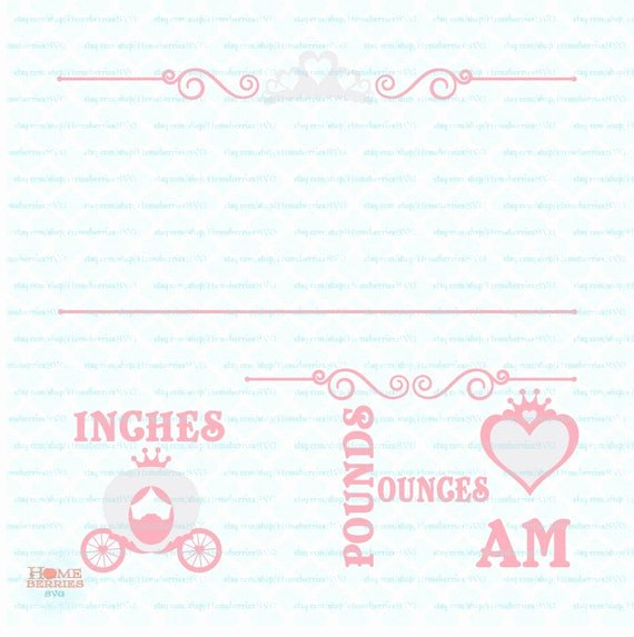 Baby Birth Stats Template Free Awesome Princess Birth Announcement Statistics Template Svg Baby Stats