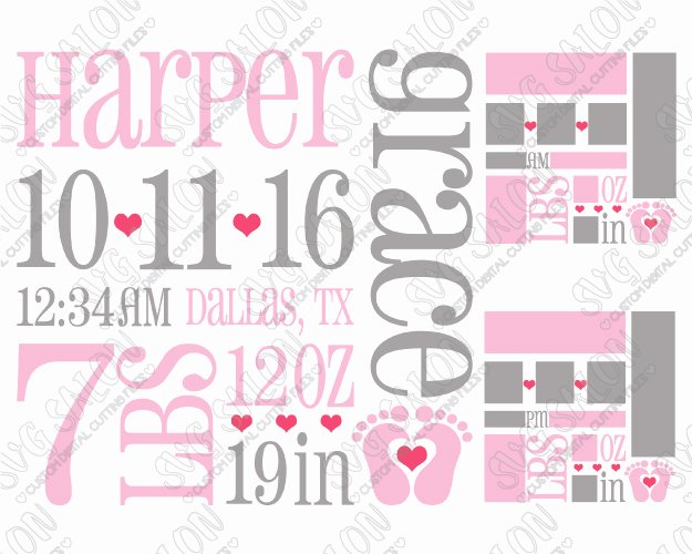 Baby Birth Stats Template Free Beautiful Baby Girl Birth Announcement Template Svg Cut File Set