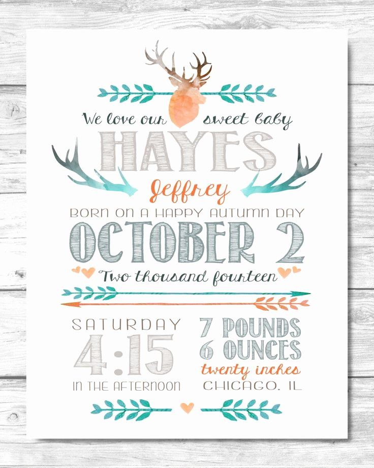 Baby Birth Stats Template Free Inspirational Baby Boy Stats Print Antlers & Arrows Birth