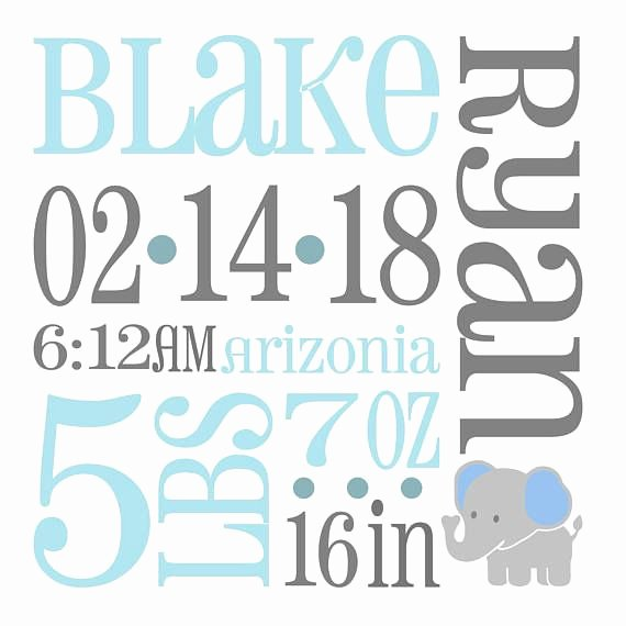 Baby Birth Stats Template Free Inspirational Elephant Baby Birth Announcement Svg Birth Stats Svg This