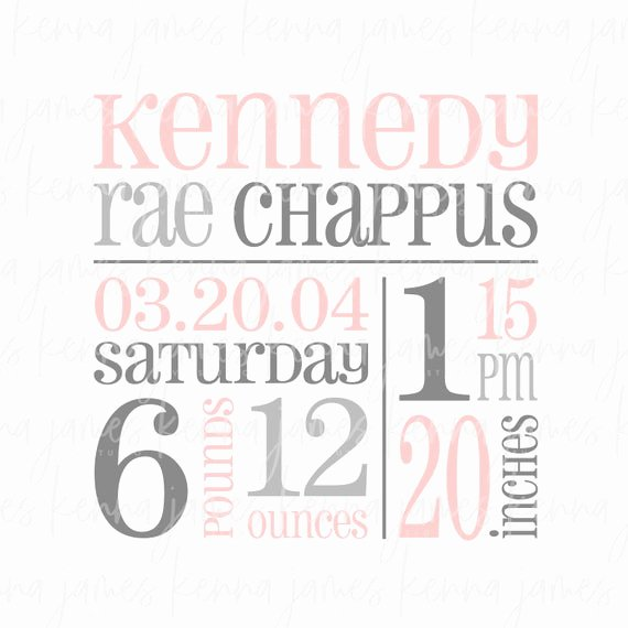 Baby Birth Stats Template Free Lovely Personalized Birth Announcement Svg Birth Stats Svg Baby