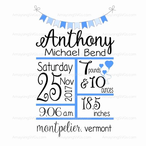 Baby Birth Stats Template Free Lovely Svg Baby Birth Stats with Banner Svg Template New Baby