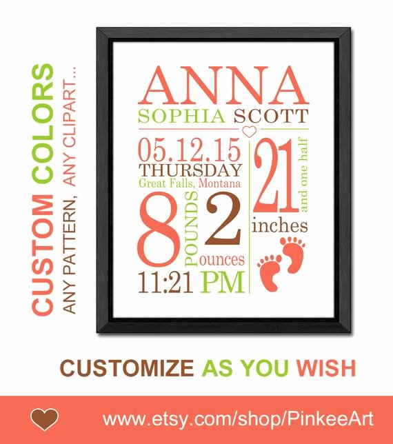 Baby Birth Stats Template Free Luxury Baby Announcement Wall Art Personalized Birth Stats