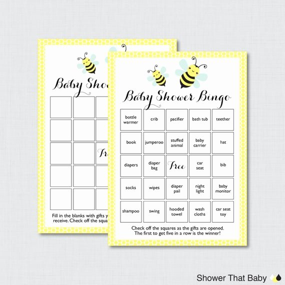 Baby Shower Bingo Generator Lovely Bumble Bee Baby Shower Bingo Cards In Yellow Printable Blank