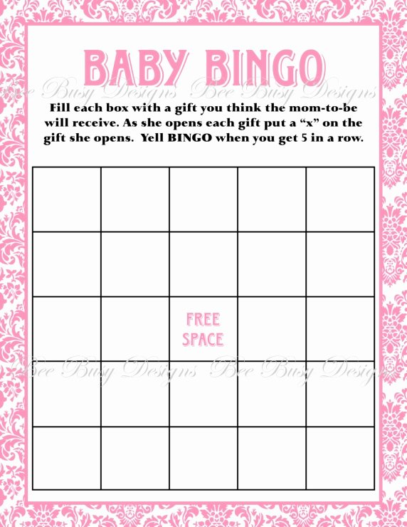 Baby Shower Bingo Generator Unique Printable Pink Damask Baby Shower Bingo Game