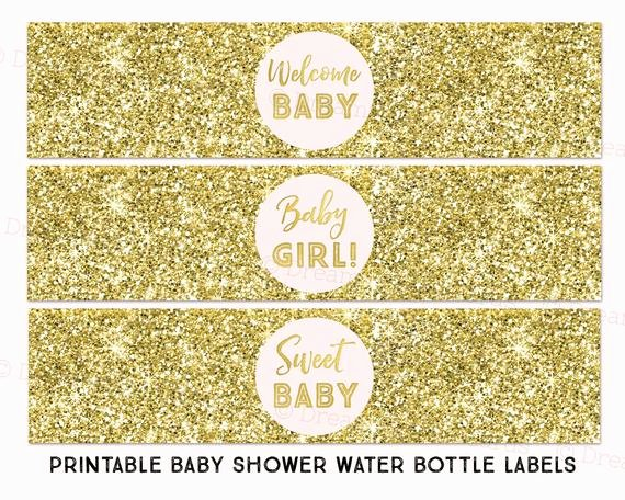 Baby Shower Water Bottle Label Template Free Awesome Printable Water Bottle Labels Girl Baby Shower Blush Pink Gold