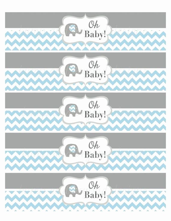 Baby Shower Water Bottle Label Template Free Elegant Water Bottle Labels Elephant Baby Shower Oh Baby Printable