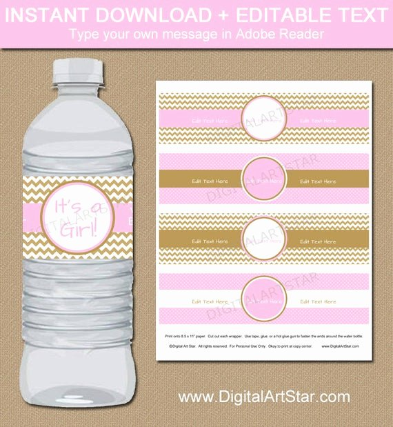 Baby Shower Water Bottle Label Template Free Lovely Pink & Gold Baby Shower Water Bottle Labels Editable