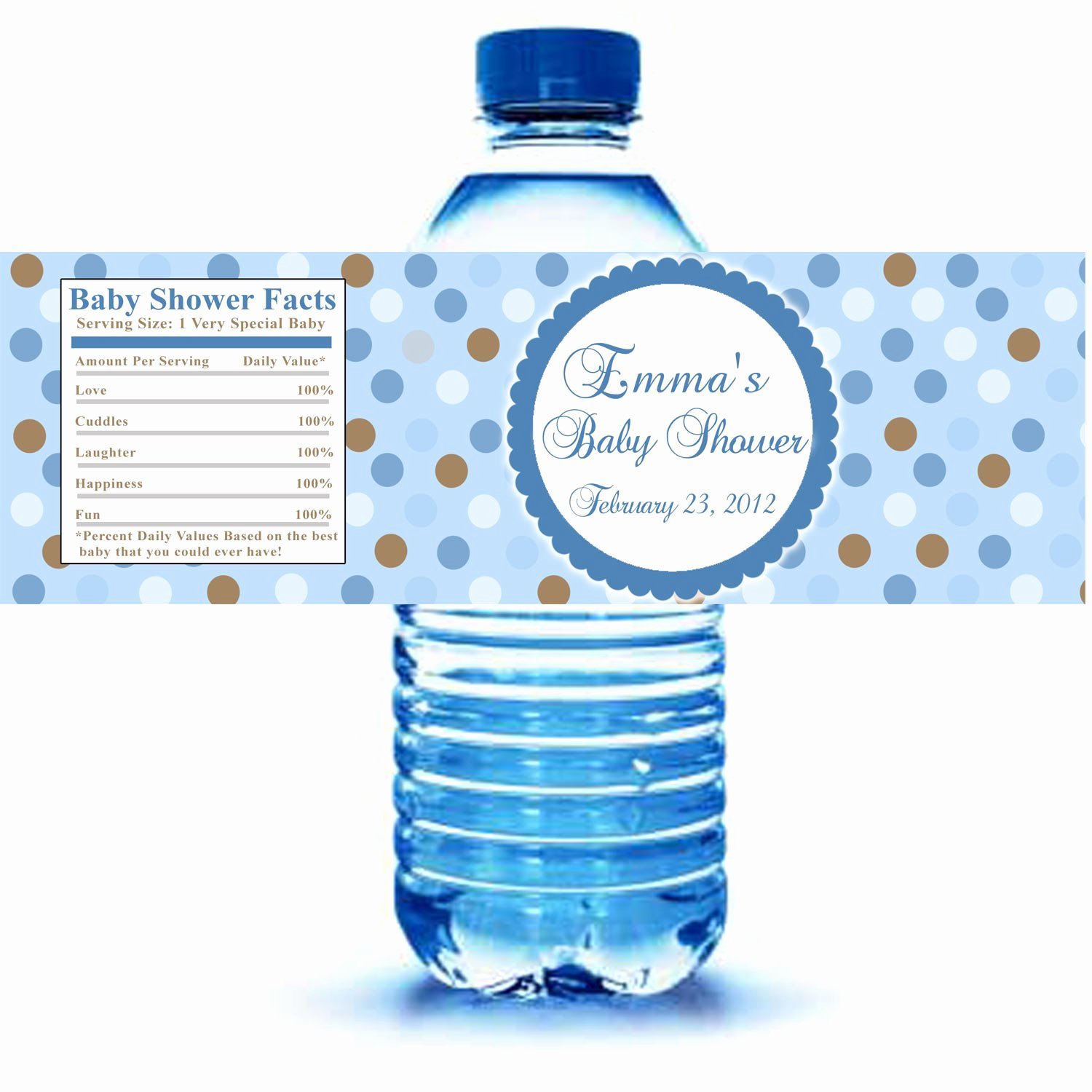 Baby Shower Water Bottle Label Template Free New Printable Blue Polka Dots Water Bottle Labels Wrappers