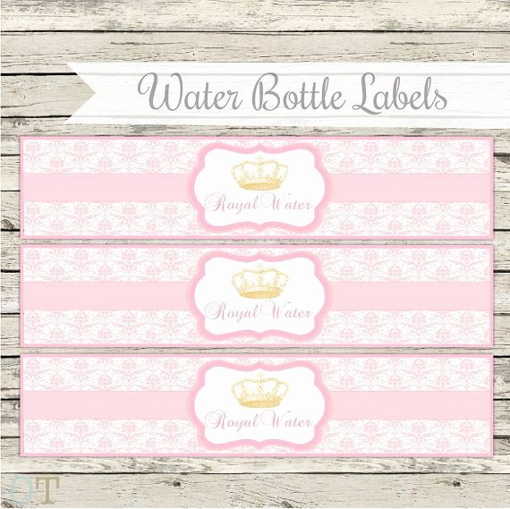 Baby Shower Water Bottle Label Template Free New Water Bottle Labels Royal Princess Vintage Crowns Pink and