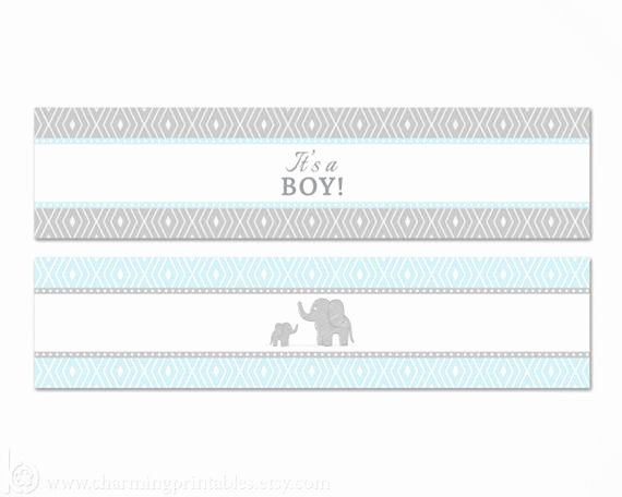Baby Shower Water Bottle Label Template Free Unique Blue Elephant Water Bottle Labels Printable Its A Boy