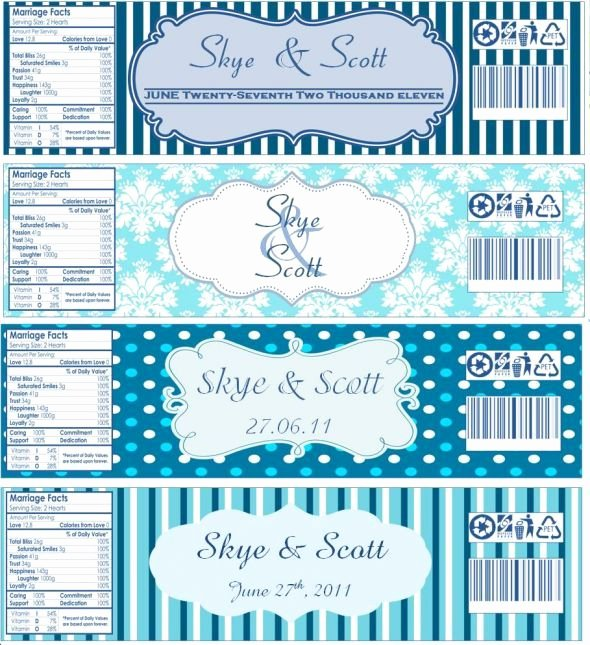 Baby Shower Water Bottle Label Template Free Unique Water Bottle Labels now with Templates Wedding Blue