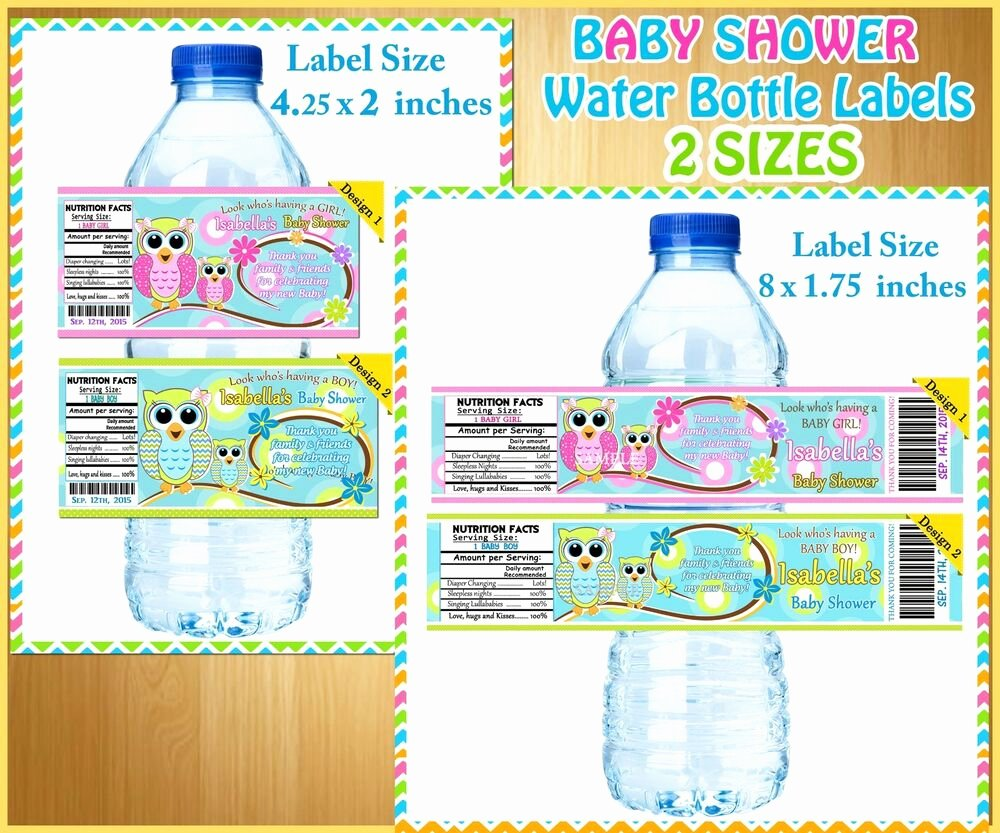 Baby Shower Water Bottle Labels Free Awesome 20 Custom Owl Baby Shower Water Bottle Labels Boy or Girl