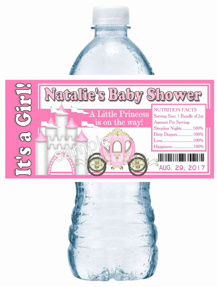 Baby Shower Water Bottle Labels Free Awesome 20 Little Princess Baby Shower Favors Water Bottle Labels