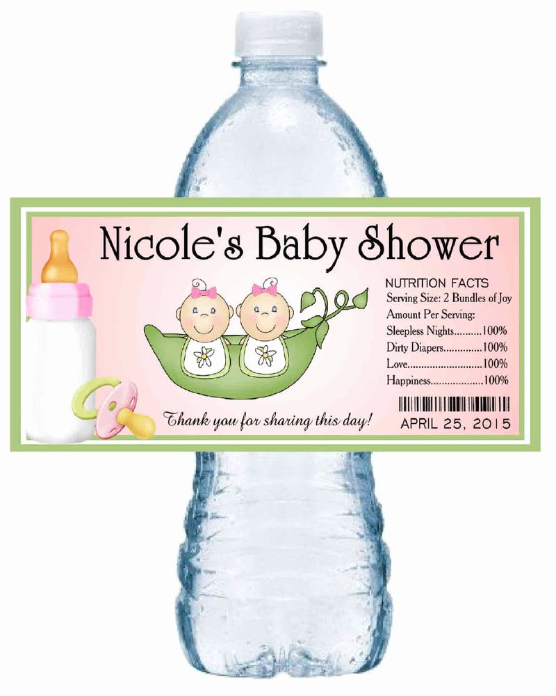 Baby Shower Water Bottle Labels Free Awesome 20 Two Peas In A Pod Twins Baby Shower Water Bottle Labels