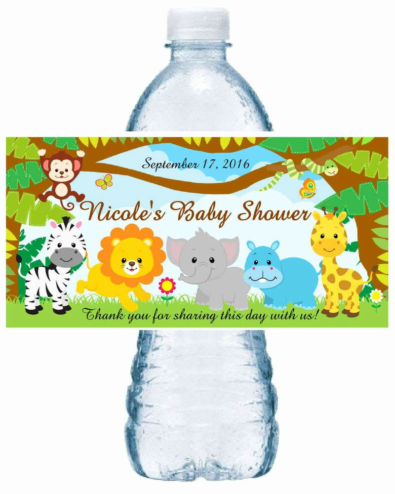 Baby Shower Water Bottle Labels Free Awesome 20 Zoo Jungle Safari Baby Shower Favors Water Bottle