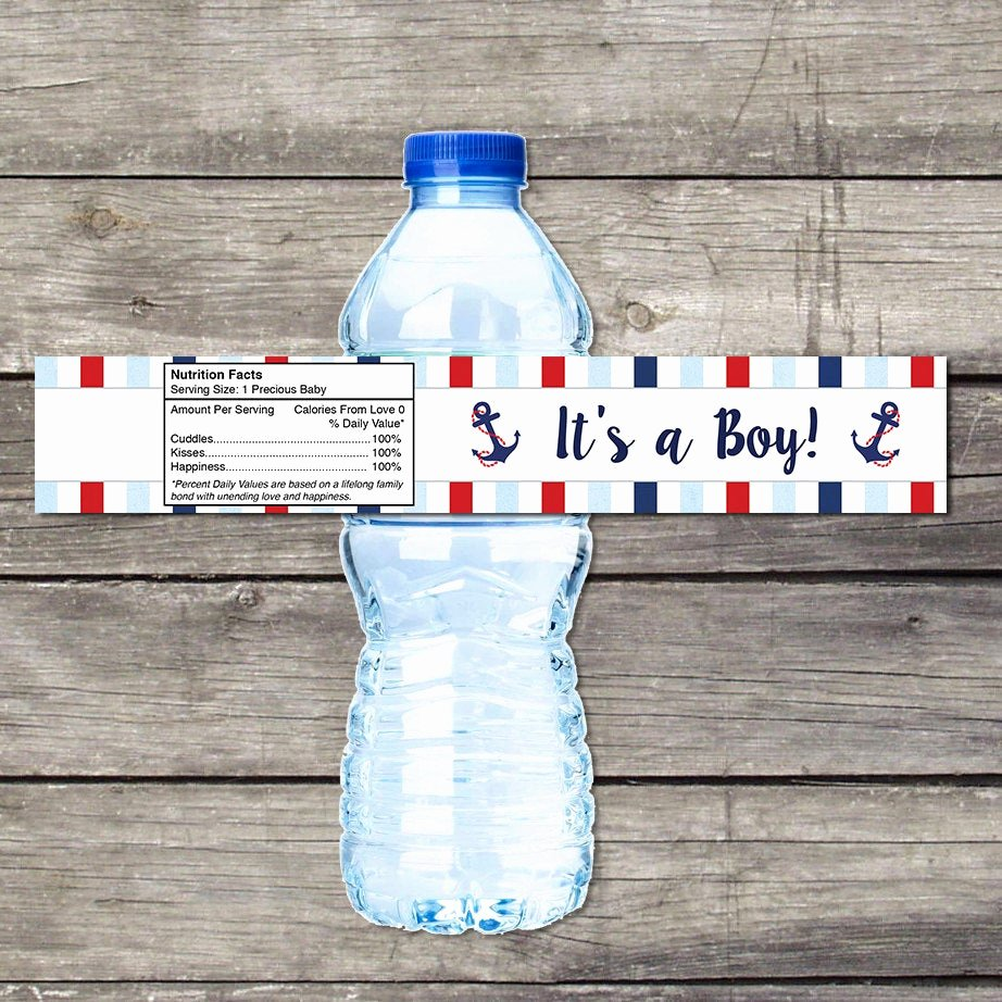 Baby Shower Water Bottle Labels Free Awesome Nautical Baby Shower Water Bottle Labels for Baby Shower