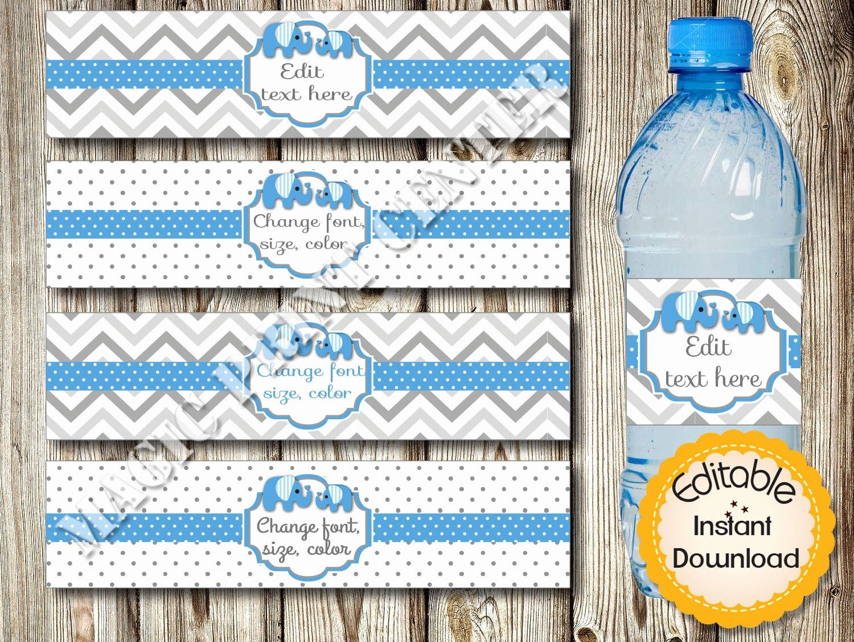 Baby Shower Water Bottle Labels Free Beautiful Editable Water Bottle Labels Baby Shower Birthday Blue