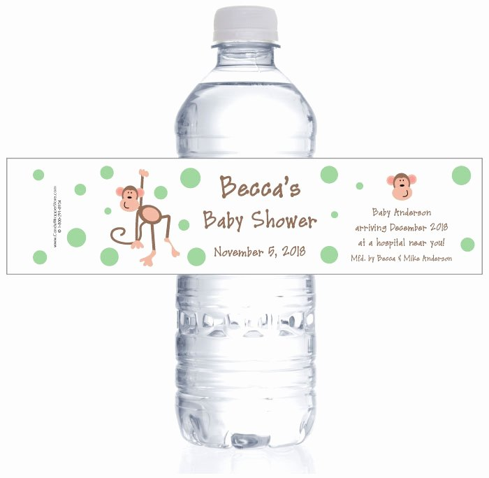 Baby Shower Water Bottle Labels Free Best Of Monkey Baby Shower Water Bottle Labels