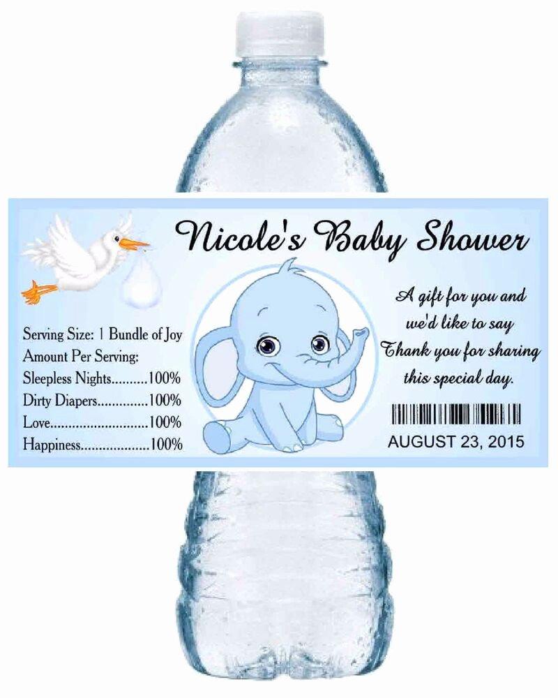 Baby Shower Water Bottle Labels Free Elegant 20 Blue Elephant Baby Shower Water Bottle Labels