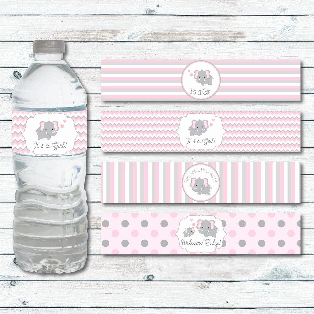 Baby Shower Water Bottle Labels Free Elegant Water Bottle Labels Elephant Baby Shower Printable Water