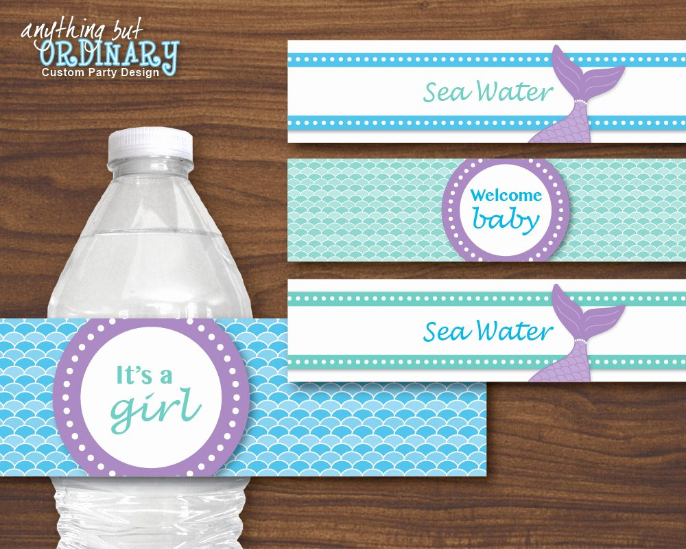 Baby Shower Water Bottle Labels Free Inspirational Mermaid Water Bottle Labels Diy Mermaid Baby Shower Labels