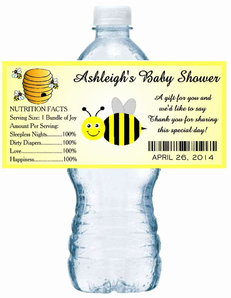 Baby Shower Water Bottle Labels Free New 20 Bumble Bee Baby Shower Water Bottle Labels Waterproof