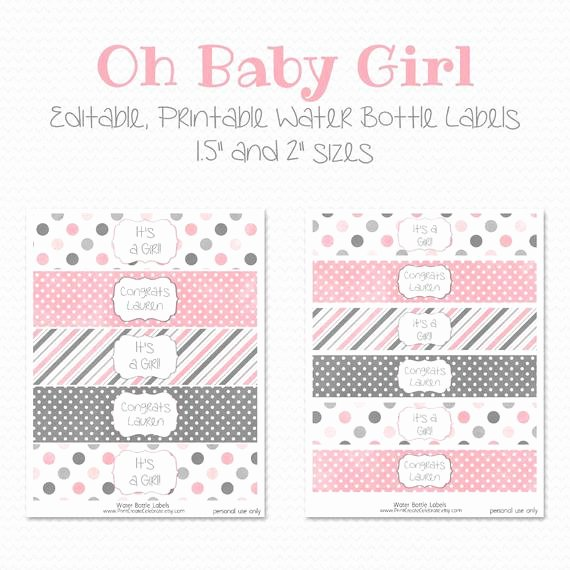 Baby Shower Water Bottle Labels Free New Items Similar to Water Bottle Labels Pink and Grey Girl