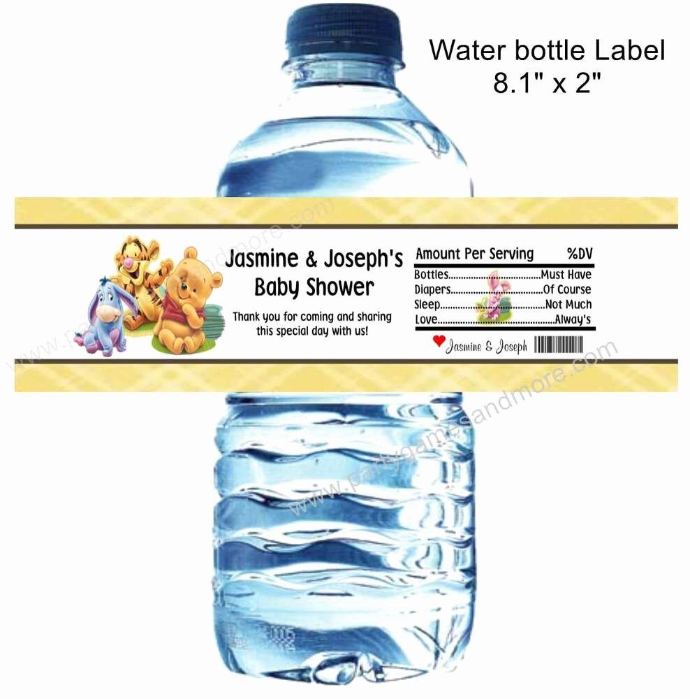 Baby Shower Water Bottle Labels Free Unique Winnie the Pooh Eeyore Tigger Piglet Birthday Baby
