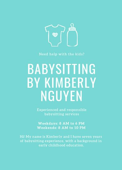 Babysitter Flyer Template Microsoft Word Awesome Customize 11 Babysitting Flyer Templates Online Canva
