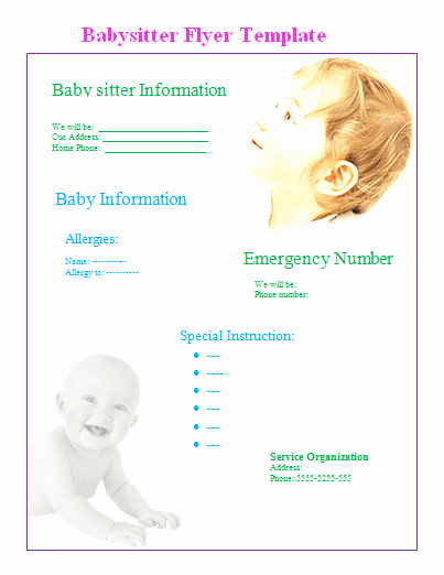 Babysitter Flyer Template Microsoft Word Best Of Babysitter Flyer Template