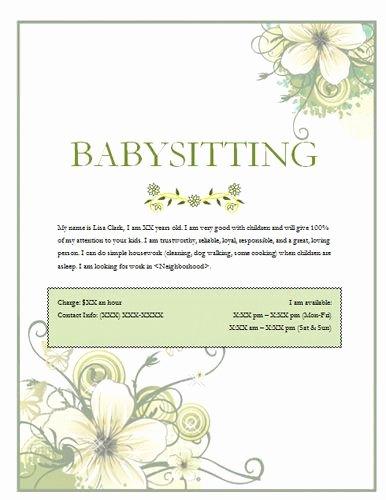 Babysitter Flyer Template Microsoft Word Elegant Image On Hloom Babysitting