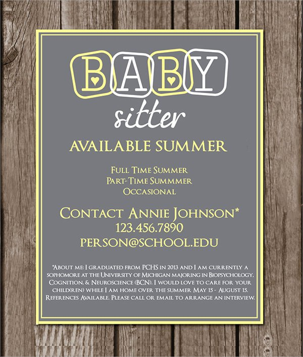 Babysitter Flyer Template Microsoft Word Inspirational 11 Babysitting Flyers