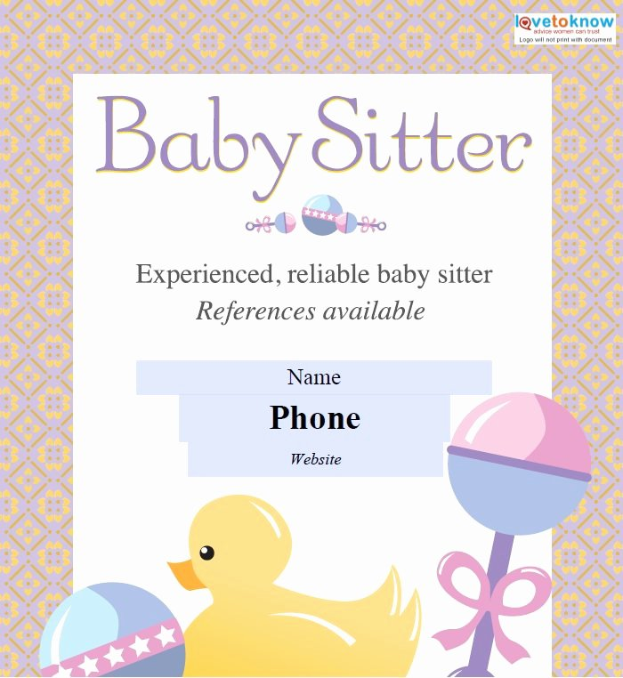 Babysitter Flyer Template Microsoft Word Lovely Babysitting Flyers Template