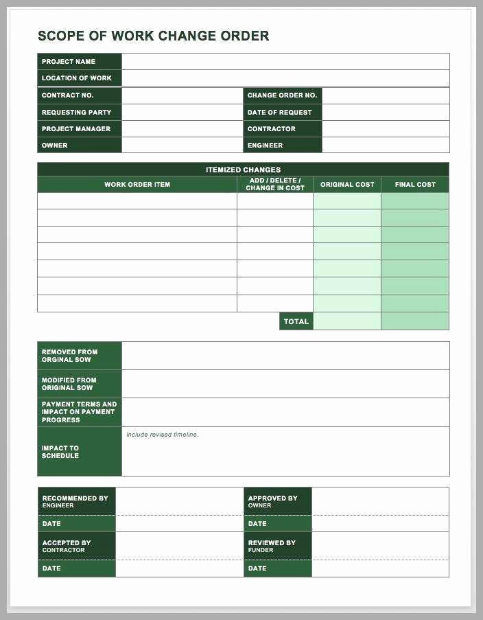 Back Charge Construction Unique Free Change order Template Excel