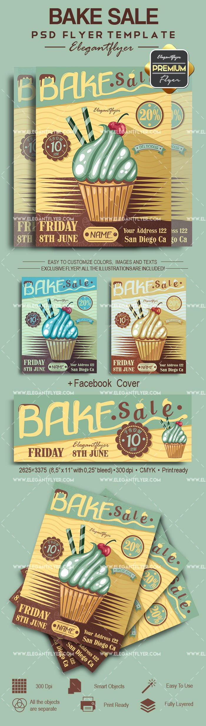 Bake Sale Flyer Template Free Beautiful Bake Sale Psd Poster – by Elegantflyer