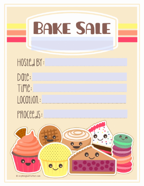 Bake Sale Flyer Template Free Luxury Bake Sale Printable Labels Set