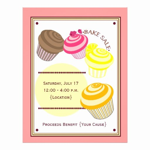 Bake Sale Flyer Template Free Unique Bake Sale Flyer Cupcakes
